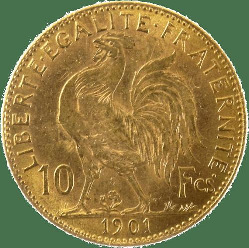 bague or 1907 coq 10francd