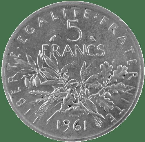 Cours 5 Francs Semeuse 1959 1969 Prix Achat Et Vente